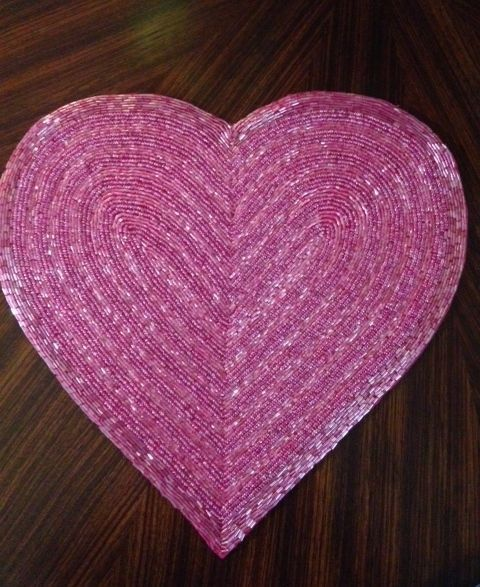 Beaded Heart Shaped Placemat - New in RED | Placemat and Heart shapes