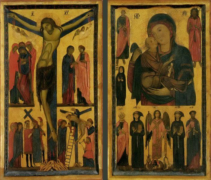 Uffizi Gallery.  BONAVENTURA BERLINGHIERI. Crucifixion and Madonna with Child and Saints. c. 1255