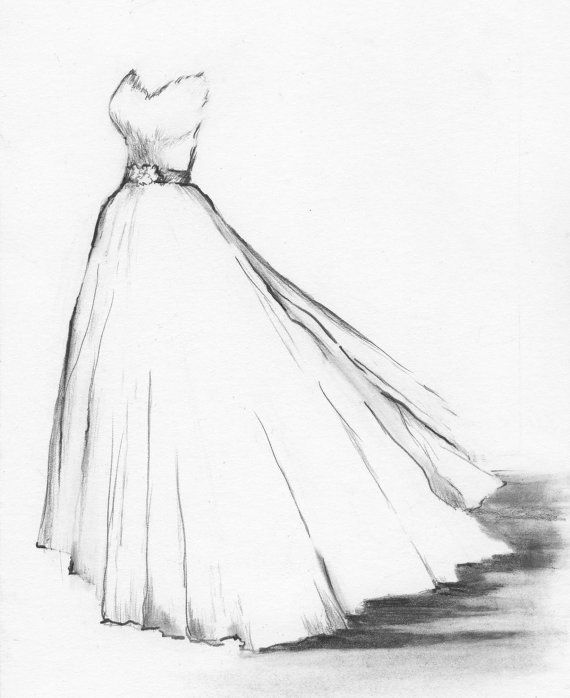 Wedding Dress Portrait Custom Drawing Of Your By Dianebronstein Etsy Black And White Art