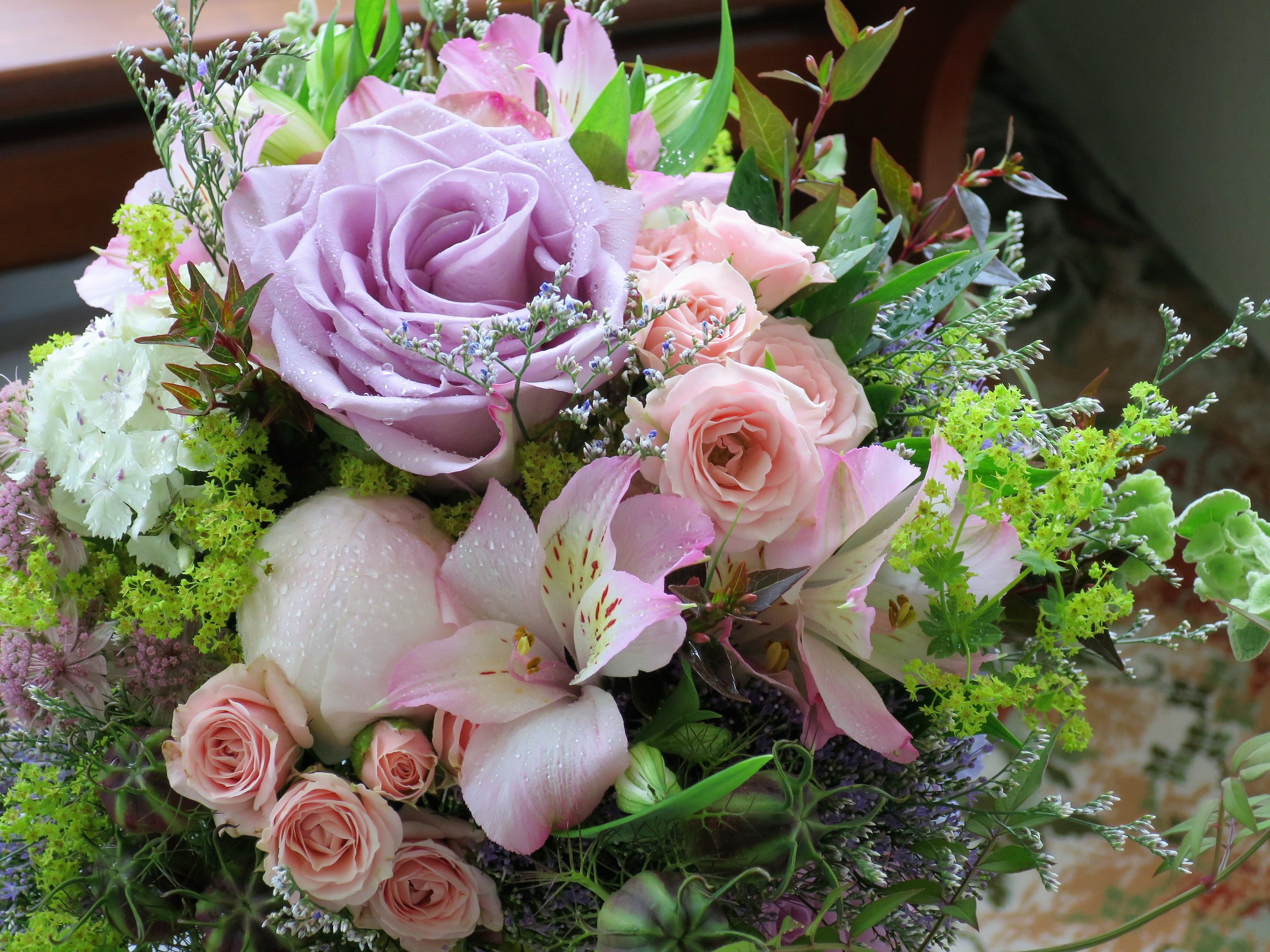 Rustic Bridal Bouquet With Dusky Pink And Peach Roses Among Lots Of