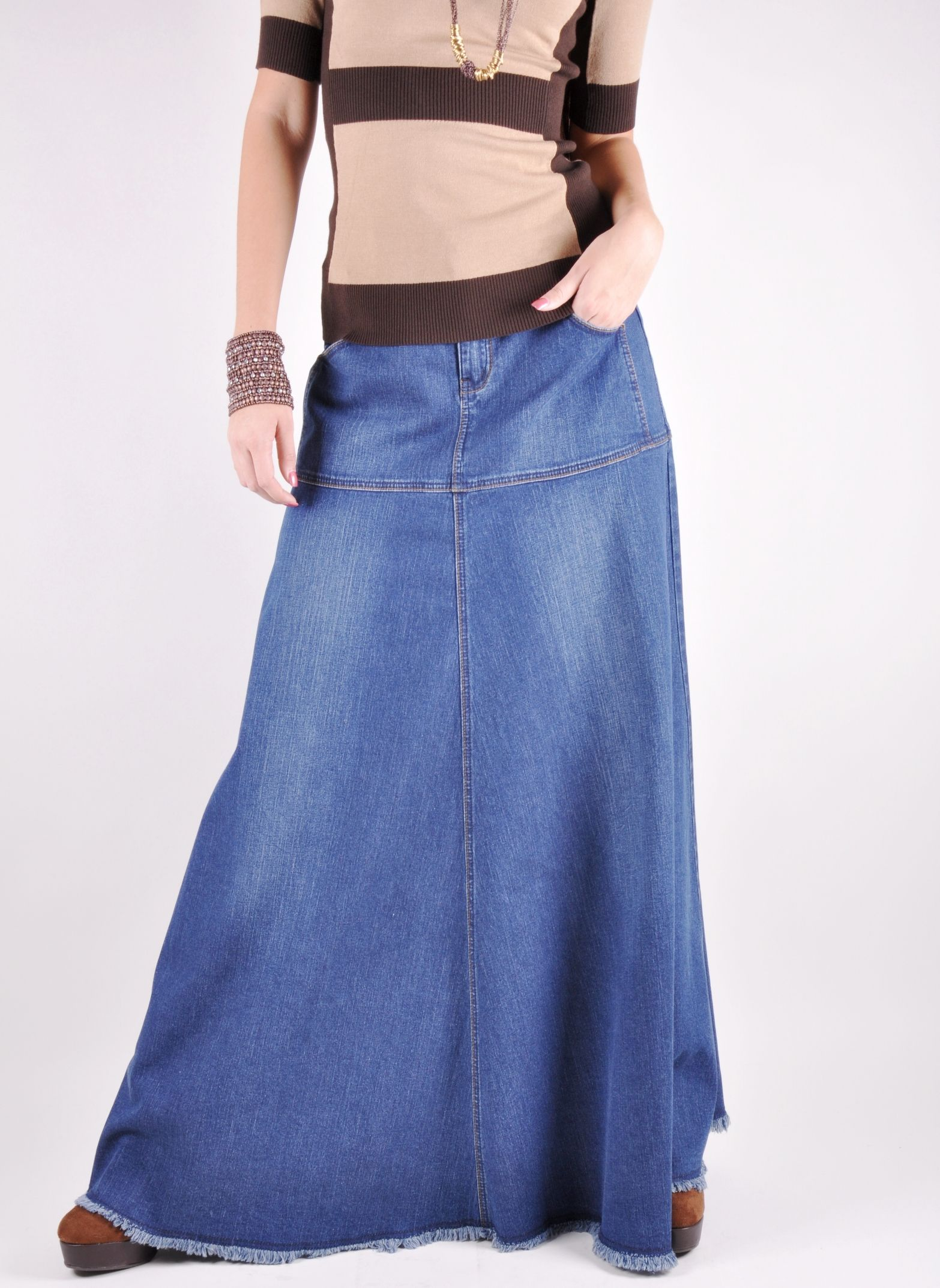 Long cute denim skirts advise to wear for autumn in 2019