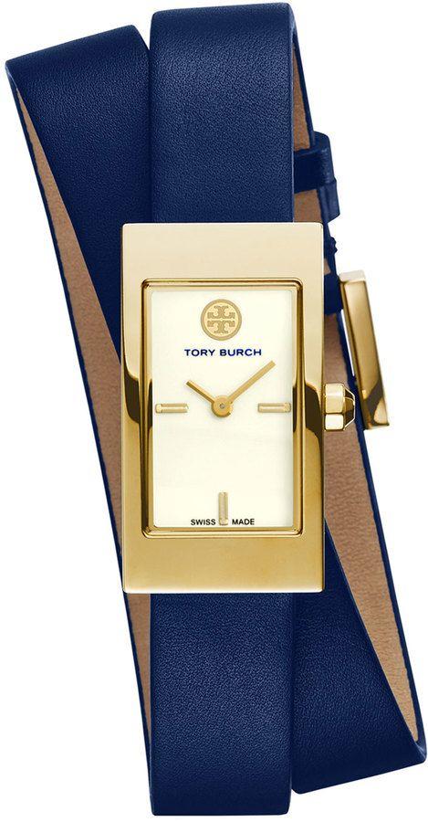 b41e4780d Tory Burch Watches Buddy Signature Double-Wrap Watch, Navy ...