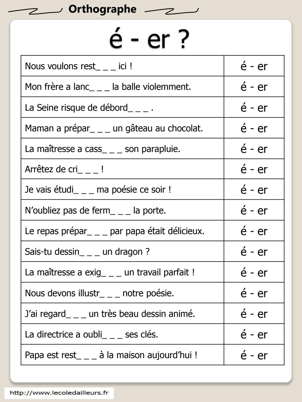 é-er.pdf - Google Drive | Grammaire française exercices ...