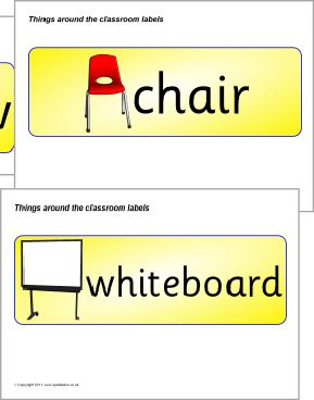 Things around the classroom labels (SB513) - SparkleBox | angličtina