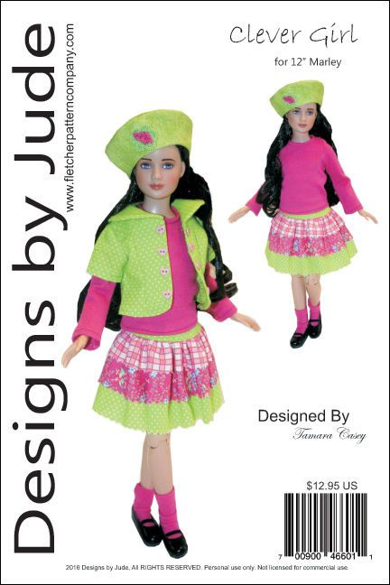"""Flirty Dress Doll Clothes Sewing Pattern for 12/"""" Marley Wentworth Dolls Tonner"""