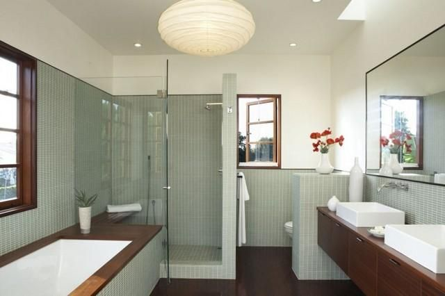 Beautiful Use Of Wood And Light Green Bathroom Layout Modern Bathroom Design Bathroom Interior Design