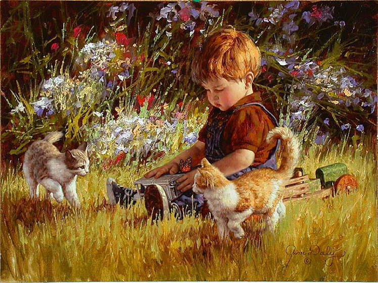 Cat and people paintings. Jim Daly - Unexpected Company.