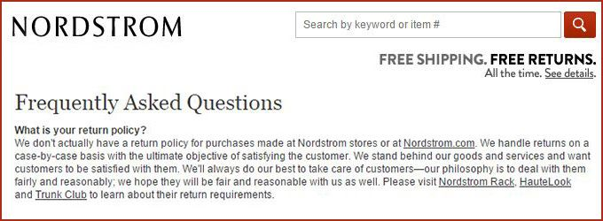 Return Policy Template Nordstrom  Ecommerce Solutions