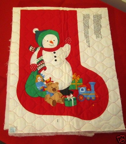 Fabric Panel Pre Quilted Christmas Stocking Snowman Teddy Bear Gifts Lg Vtg Ebay Quilted Christmas Stockings Teddy Bear Gifts Christmas Stockings