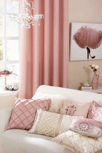 Pink living room with white couch and mix and match pillows. | Home ...
