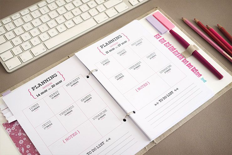 diy weekly planner organiseur agenda 2016 liste. Black Bedroom Furniture Sets. Home Design Ideas