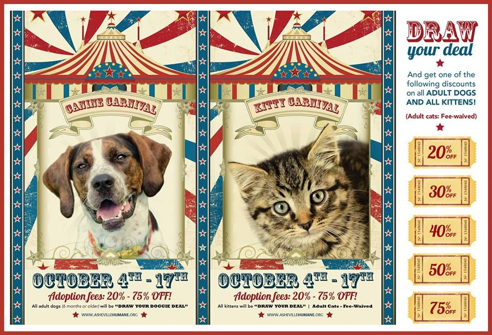 Pet Adoption Carnival Poster From Asheville Humane Society In Asheville Nc Animal Rescue Fundraising Animal Rescue Pet Adoption Event
