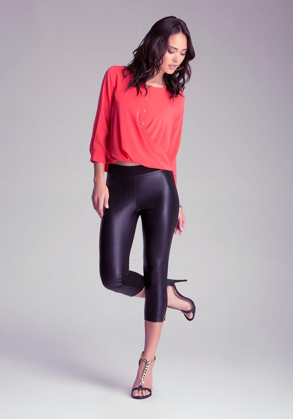 Women's Black Front Slit Capri Leggings   Capri leggings, Bebe and ...