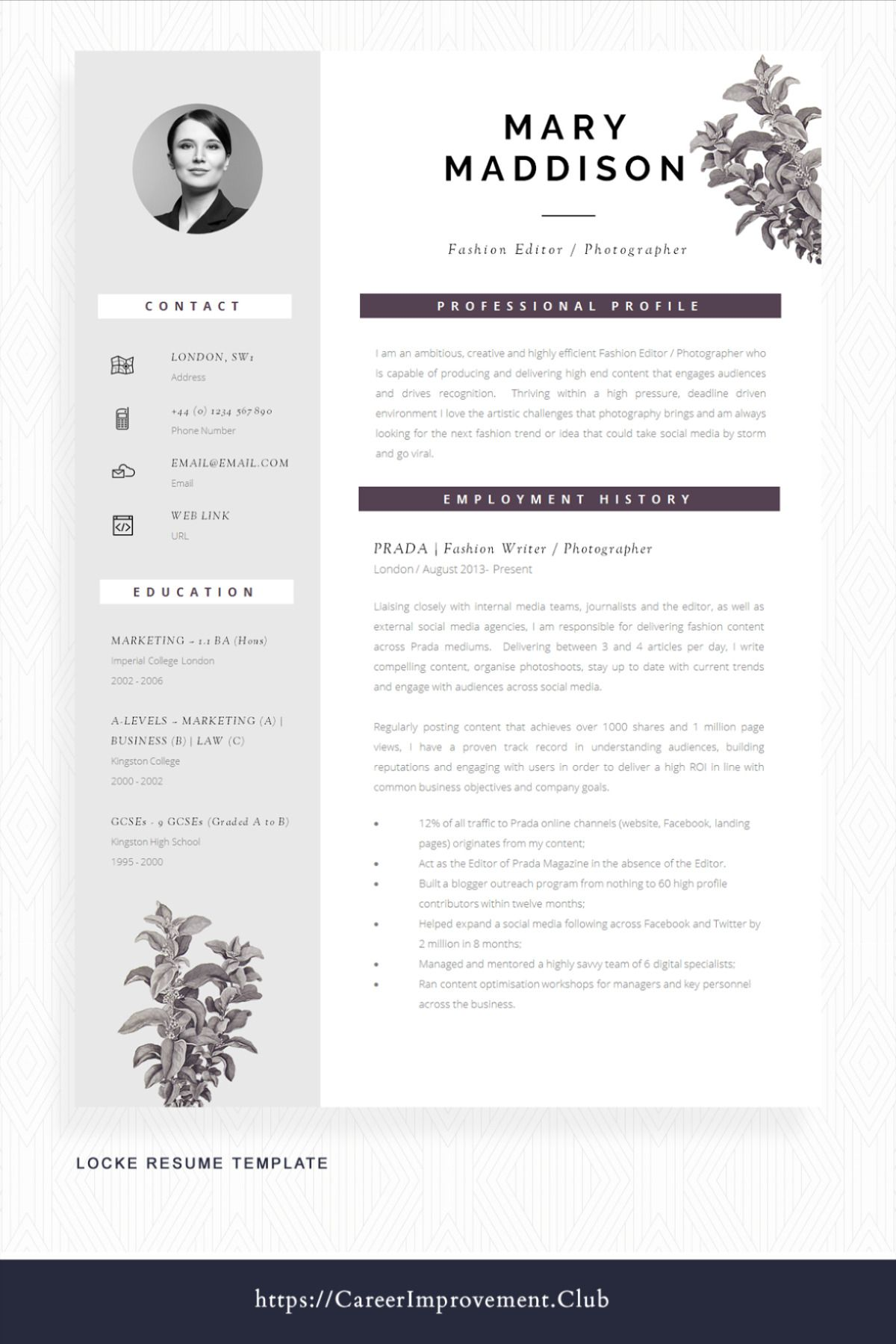 Professional Cv Design For Word Cover Letter Resume Advice Instant Download Mac Or Pc Resume Design Locke Cv Design Professional Cv Design Resume Design