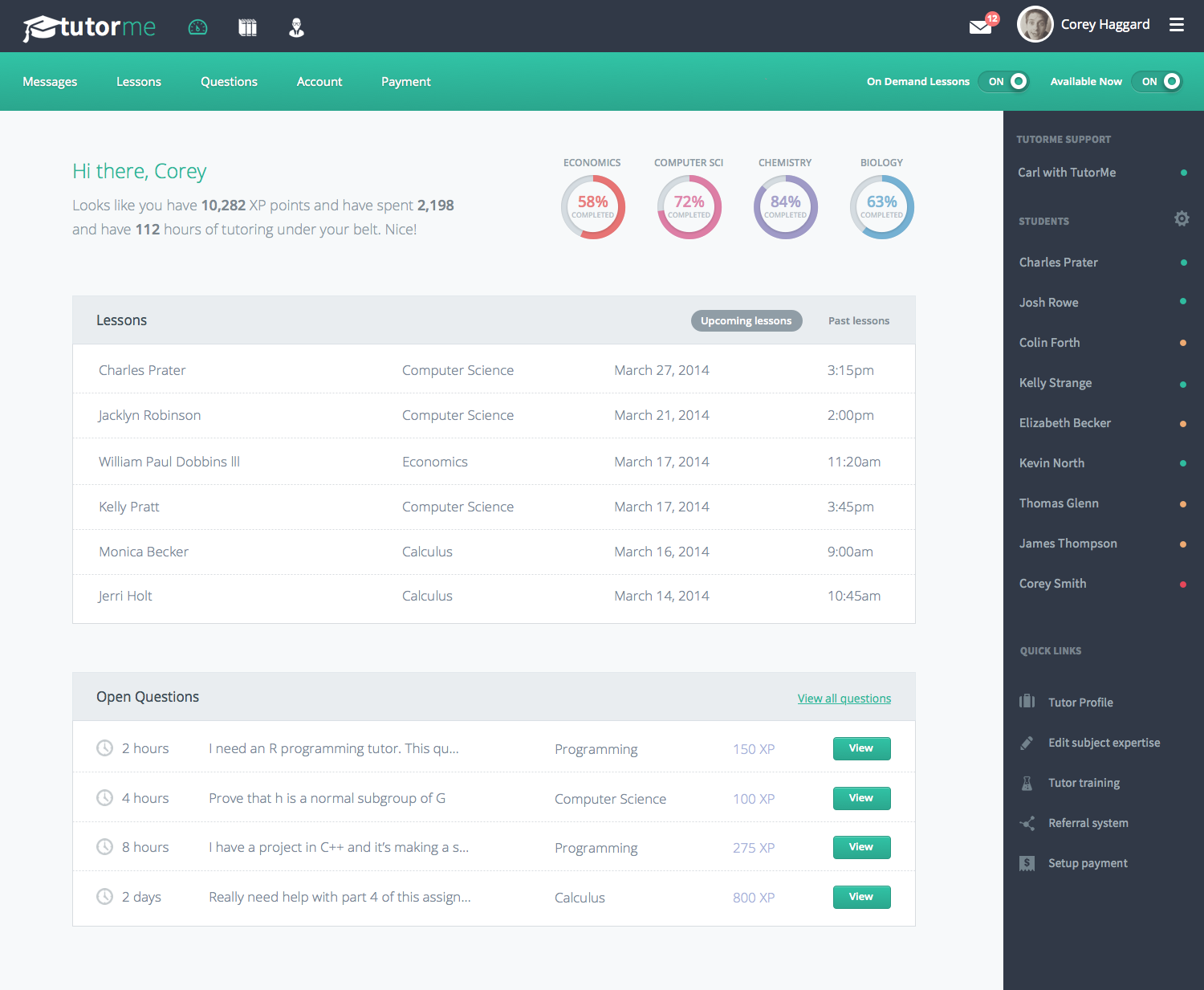 Student dashboard by corey haggard ui ux gallery for Ux table design