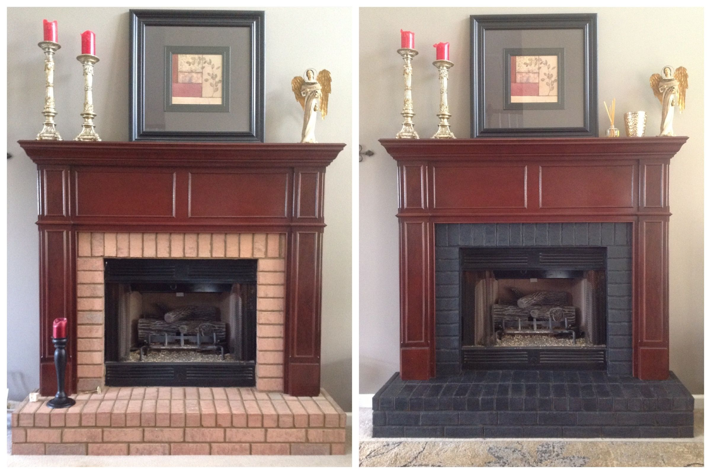 Concrete Stain Brick Fireplace Makeover My Not So Cute Pink Brick Fireplace Looks So Much Better No Fireplace Makeover Brick Fireplace Makeover Stained Brick