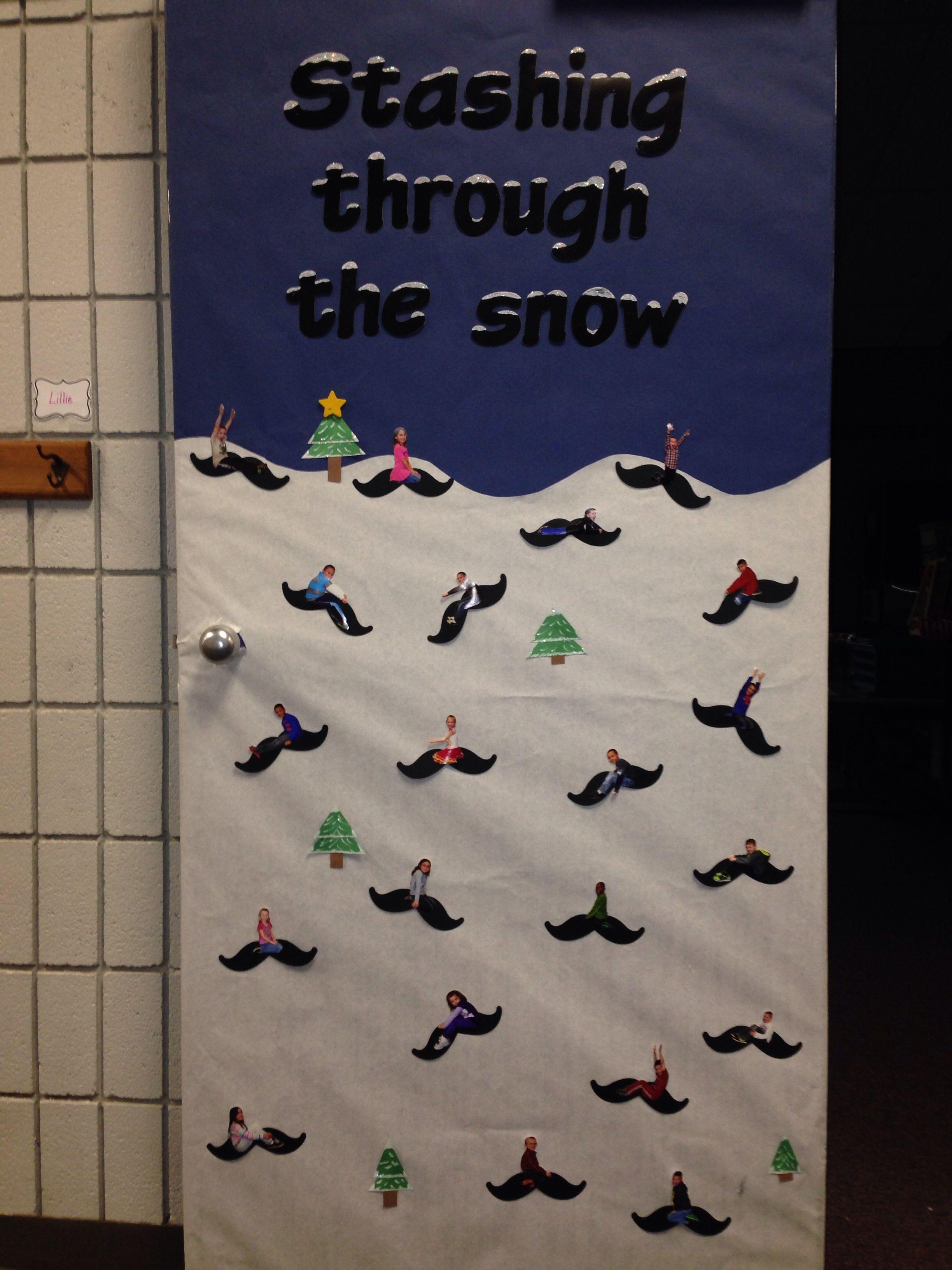 Mustache Classroom Decor ~ Winter door decoration for classroom quot stashing through