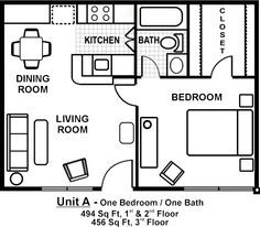Small Flat Plan one room one bed one bath floor plan with garage | pictures