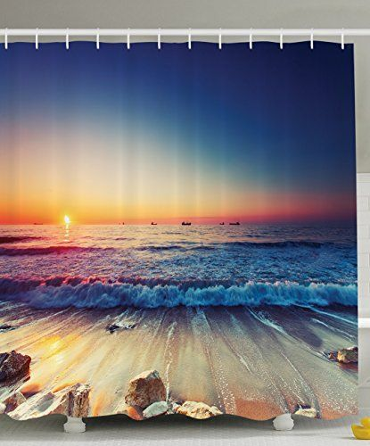 Ambesonne Nautical Decor Ocean Sunset Scenery Pictures Wa Https