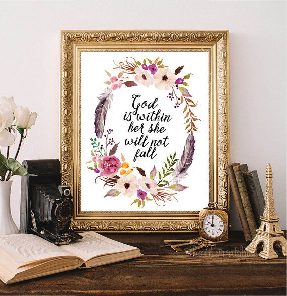 ❣ Please check our announcements tab for coupon codes! ❣  God Is Within Her She Will Not Fall Printable  ❥ No physical item will be shipped to