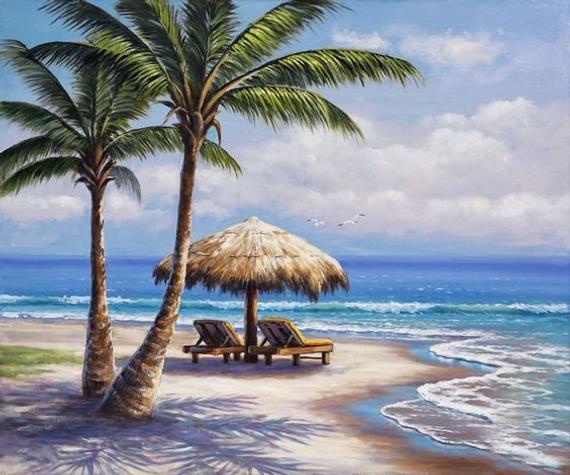 Island Beach Scenes: Diamond Painting Kit Paradise Island, Square Mosaic