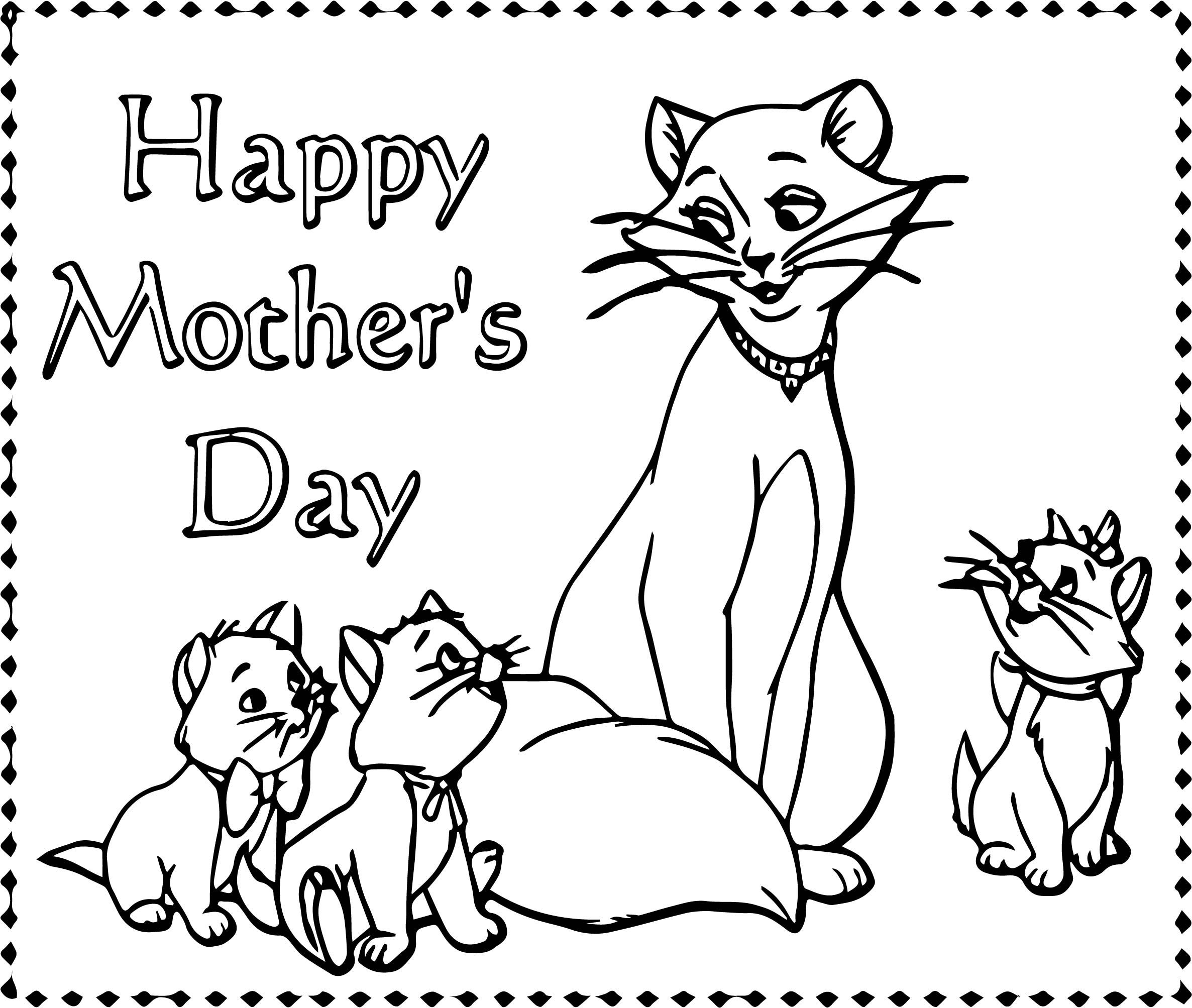 awesome Disney The Aristocats Happy Mother Day Coloring Page
