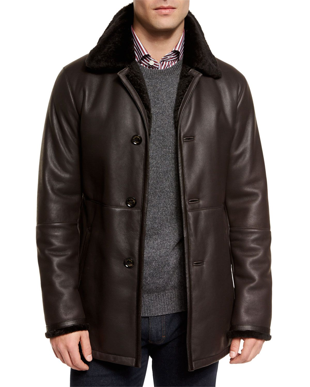 6f78aef1 Leather Jacket with Shearling Fur-Lined Collar, Brown, Size: 56 ...