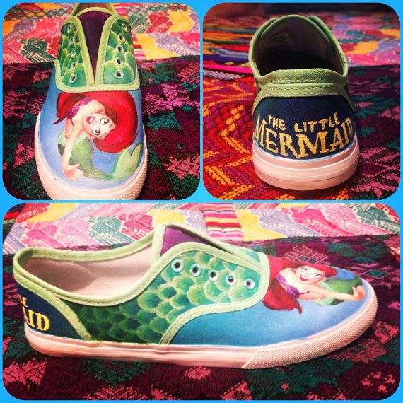 a887db24804 The Little Mermaid Hand Painted Shoes Gold by MagnoliaStudios1. Custom Made  ...