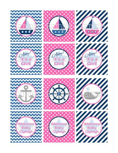 Nautical Girl Baby Shower | Printable Ahoy! Nautical Girl Baby Shower Or  Birthday Cupcake Wrappers