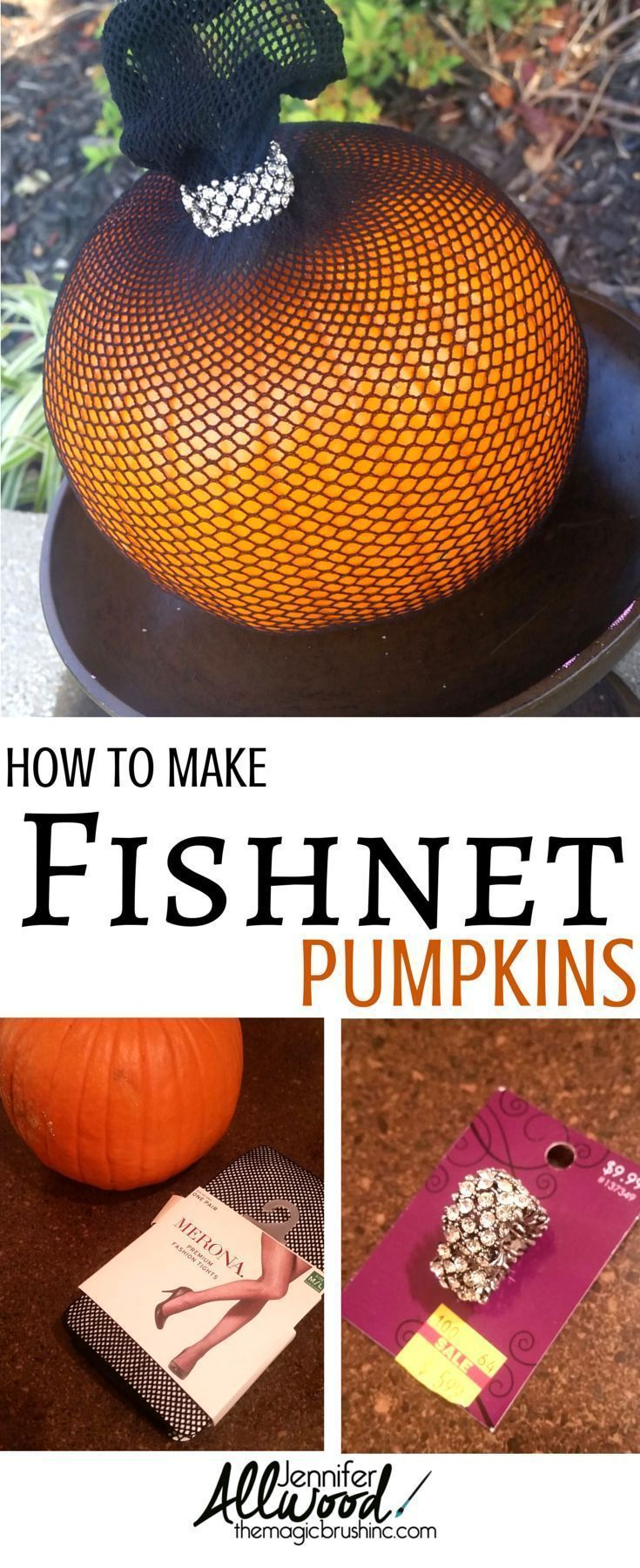 Ideas : Here's an easy and clever way to decorate pumpkins for Halloween using fishnet stockings and a little bling! More pumpkin and fall DIY projects at TheMagicBrushinc.com #fall #falldecor #homedecor #diy #diyhomedecor #pumpkin #pumpkineverything #howto #deco