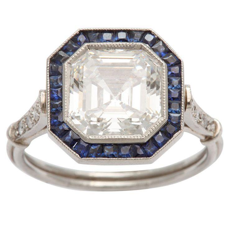 Art Deco Emeraldascher cut diamond engagement ring France 1930s