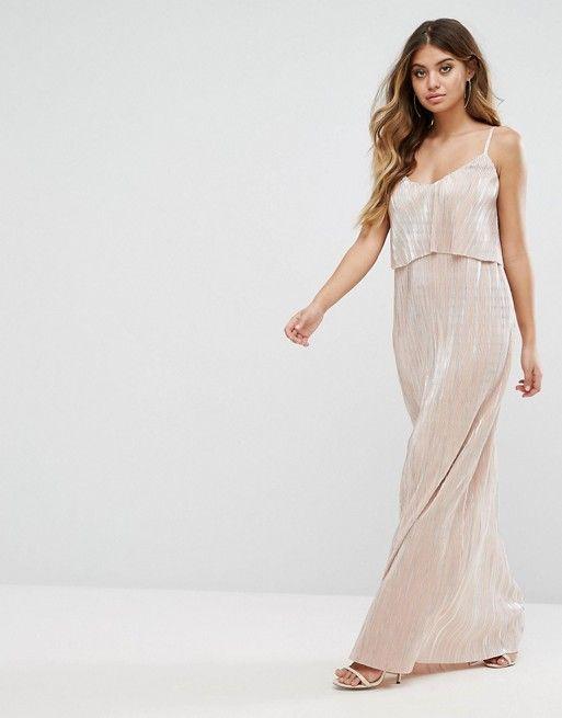 732fdc0e24d Club L Plisse Metallic Overlay Frill Maxi Dress Mode Online