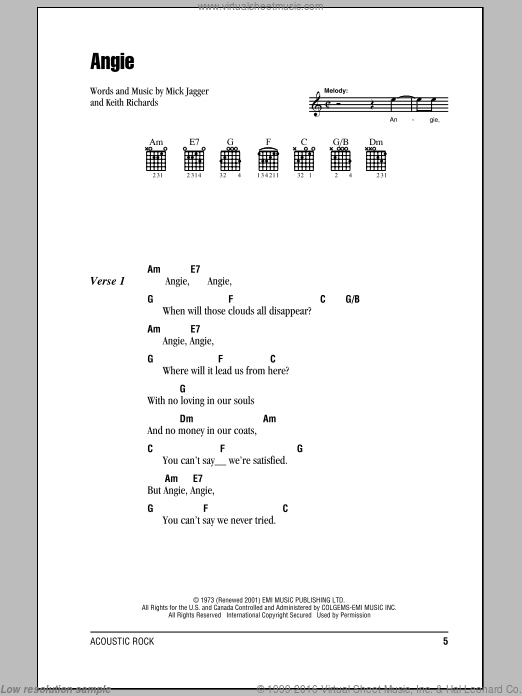 Stones Angie Sheet Music For Guitar Chords Pdf Guitar Chords Angie Digital Sheet Music