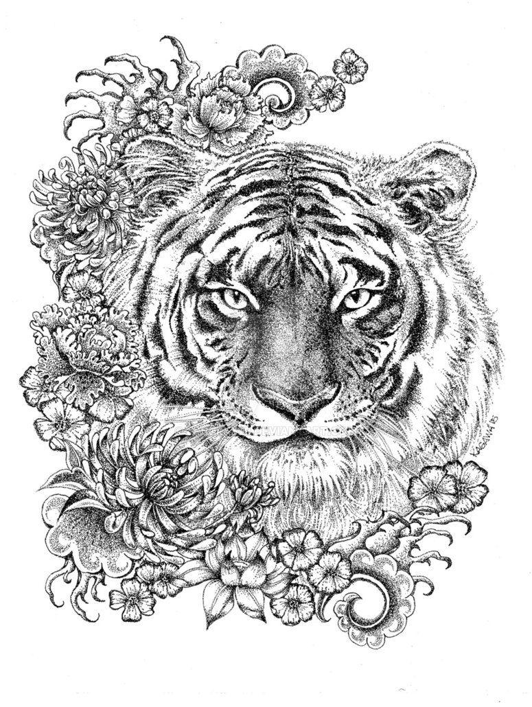 Year Of The Tiger By Lkburke29 Deviantart Com On Deviantart Skull Coloring Pages Mandala Coloring Pages Mandala Coloring