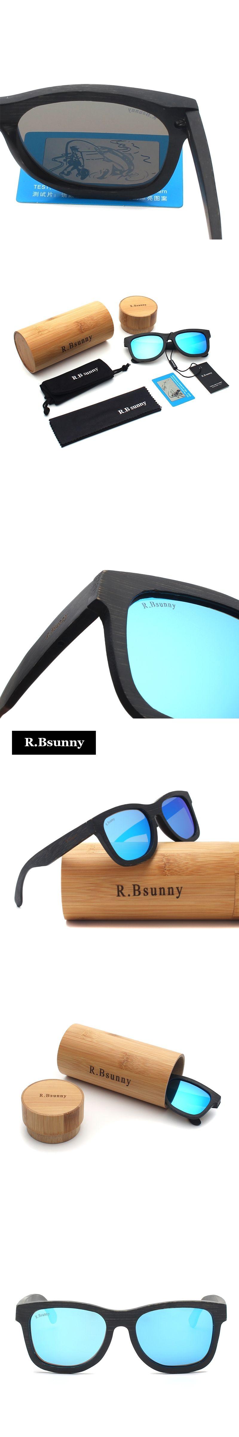 59d1e02e791 R.Bsunny Wooden Sunglasses Polarized Bamboo brand sun glasses Vintage Wood  Case Beach Sunglasses for