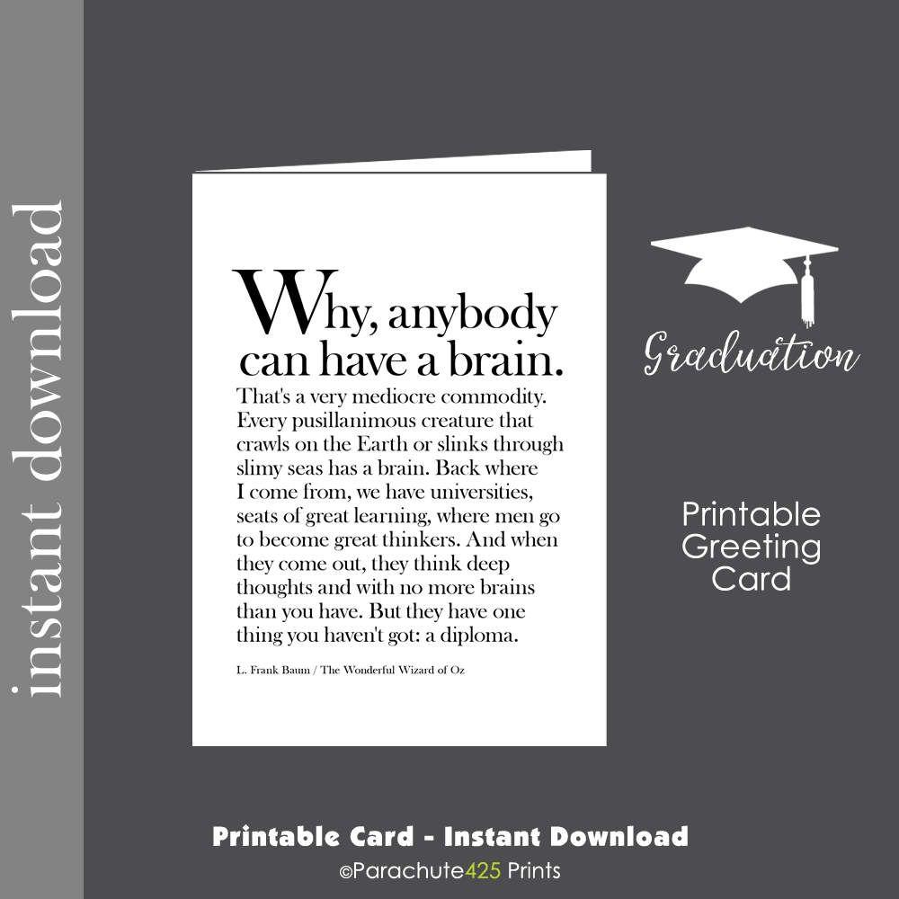 Graduation Printable Printable Card Graduation Card Funny