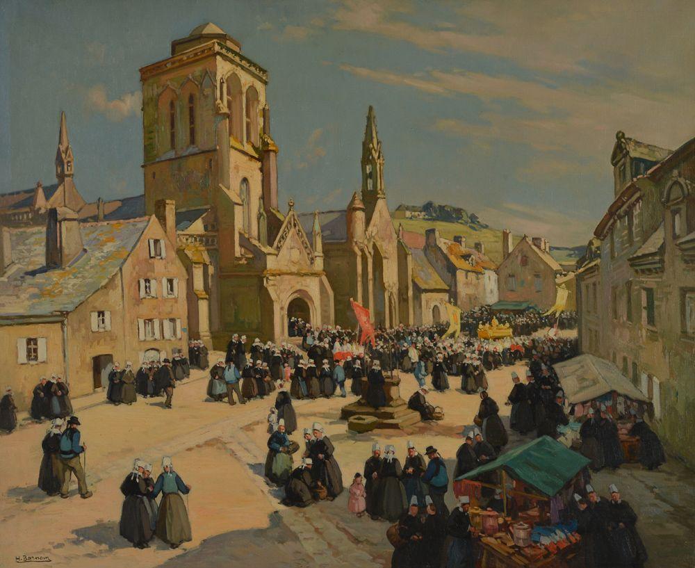 Henri Barnouin 1882 1940 Pardon De Locronan Peinture Bretonne Locronan Batz Sur Mer