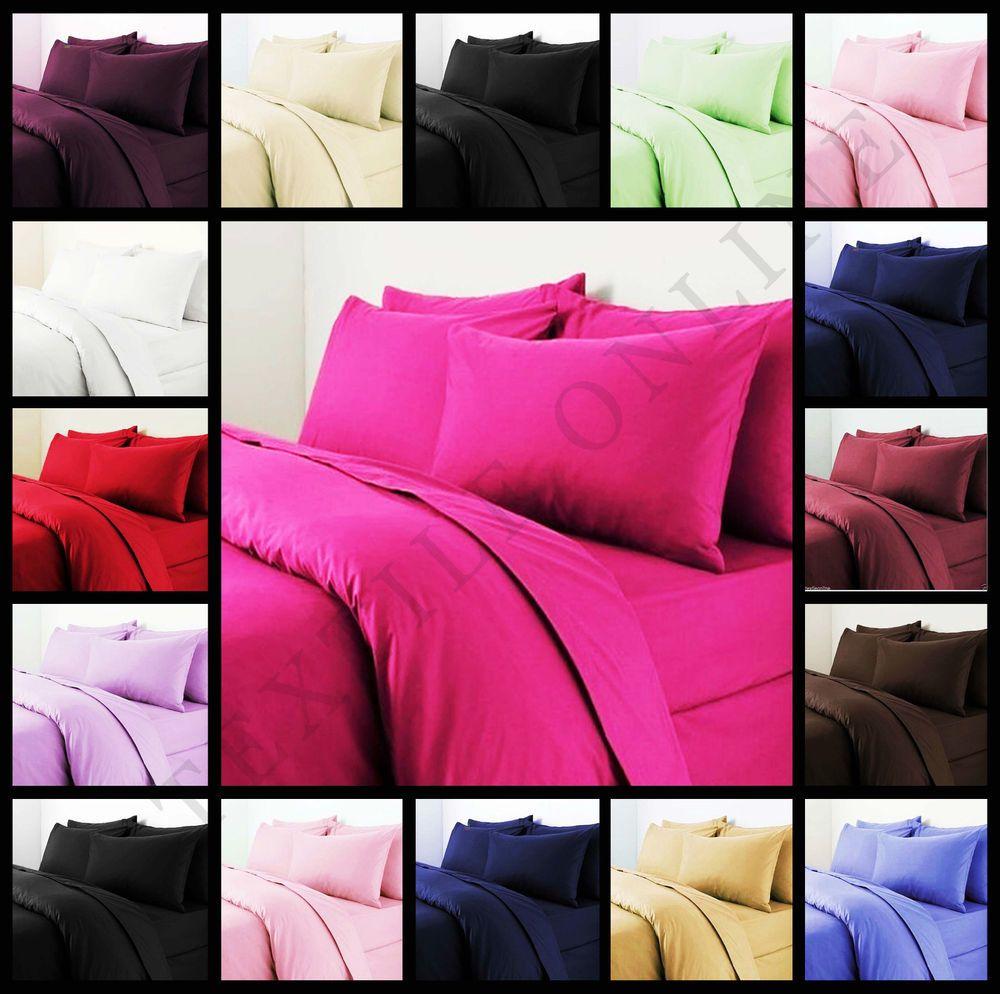 Details about Plain Duvet Quilt Cover with Pillow Case