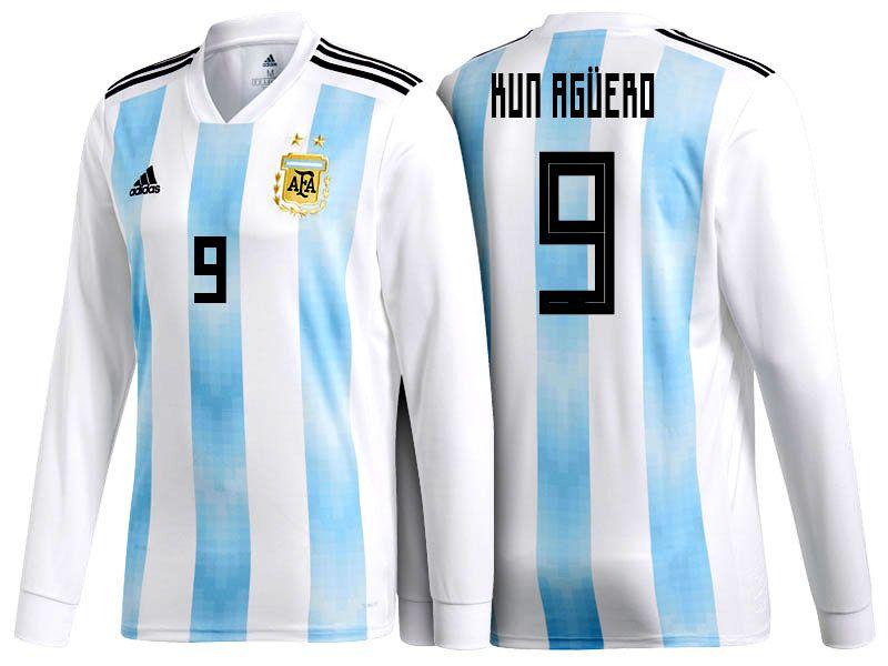 2018 Argentina Football Shirt sergio aguero World Cup LS Home Soccer Jersey 99fac148c