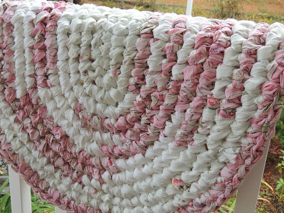 Oval Crochet Rag Rug The Pink Ballerina Made Of White By Itsmyjoy