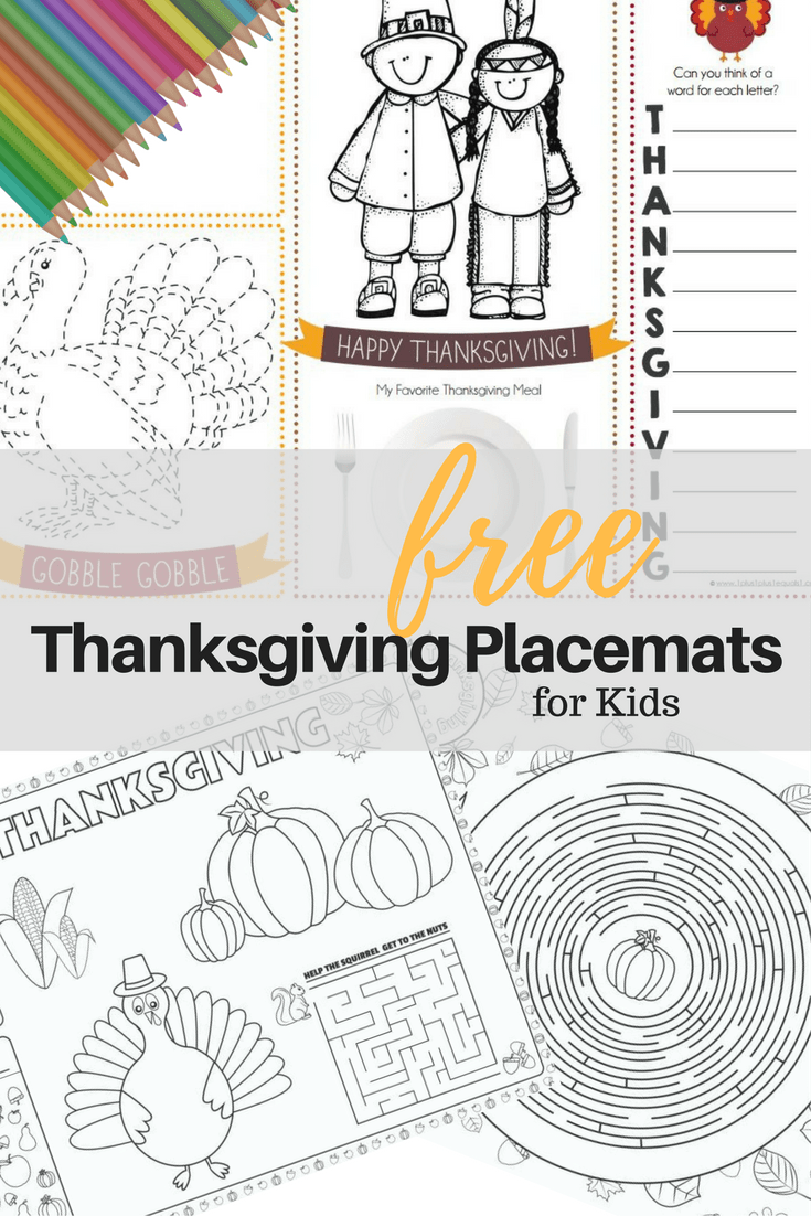 graphic about Thanksgiving Placemats Printable named 10 Absolutely free PRINTABLE THANKSGIVING Destination MATS FOR Young children Mad