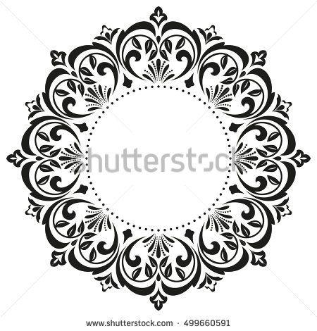 Decorative line art frames for design template. Elegant element for design in Eastern style, place for text. Black outline floral border. Lace vector illustration for invitations and greeting cards #framesandborders