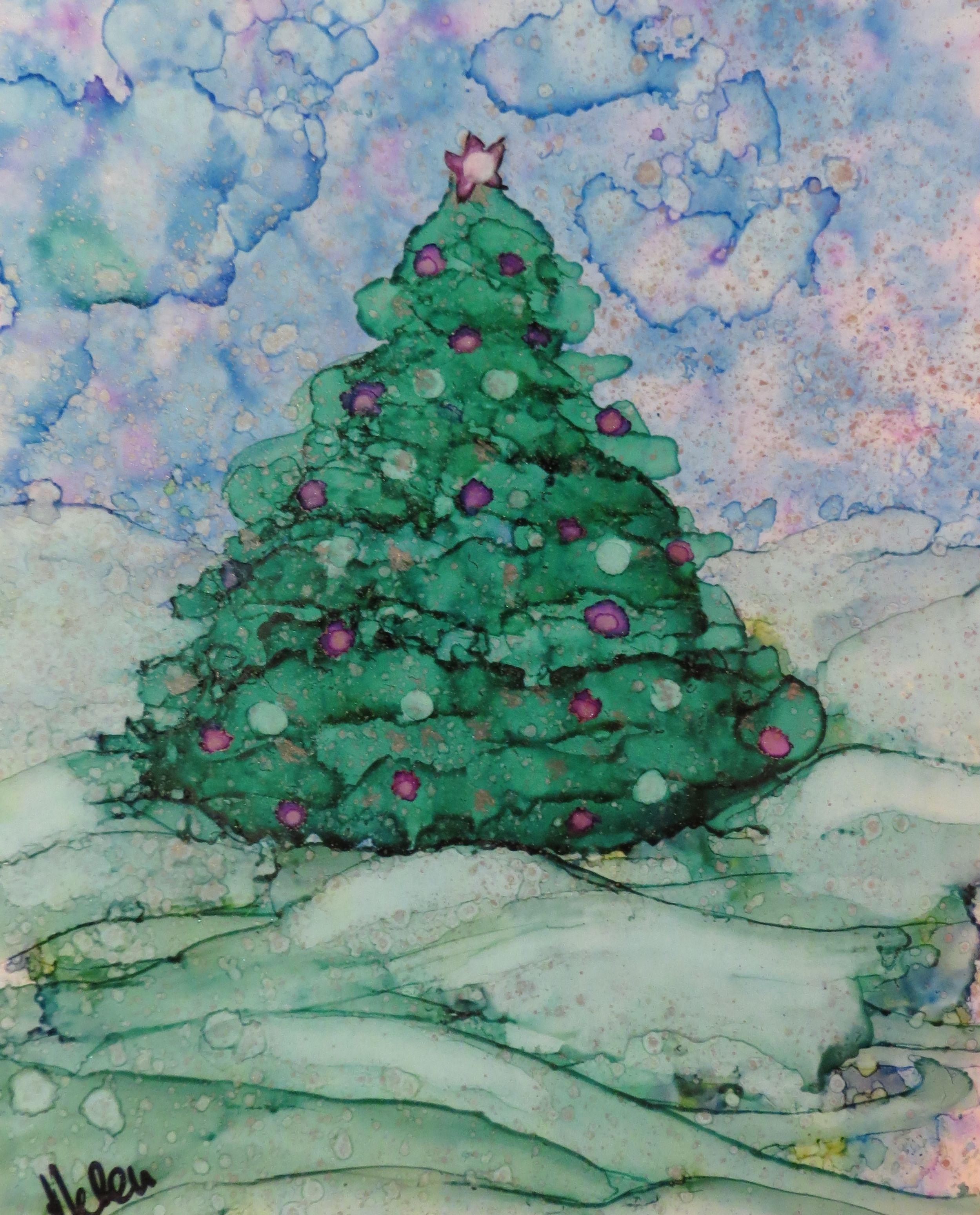 Christmas Tree Alcohol Ink On Yupo  Helen Cook