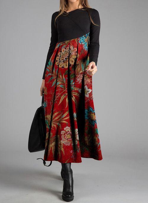 Lässige Kleidung Lange Ärmel Blumen Maxi Kleider ...