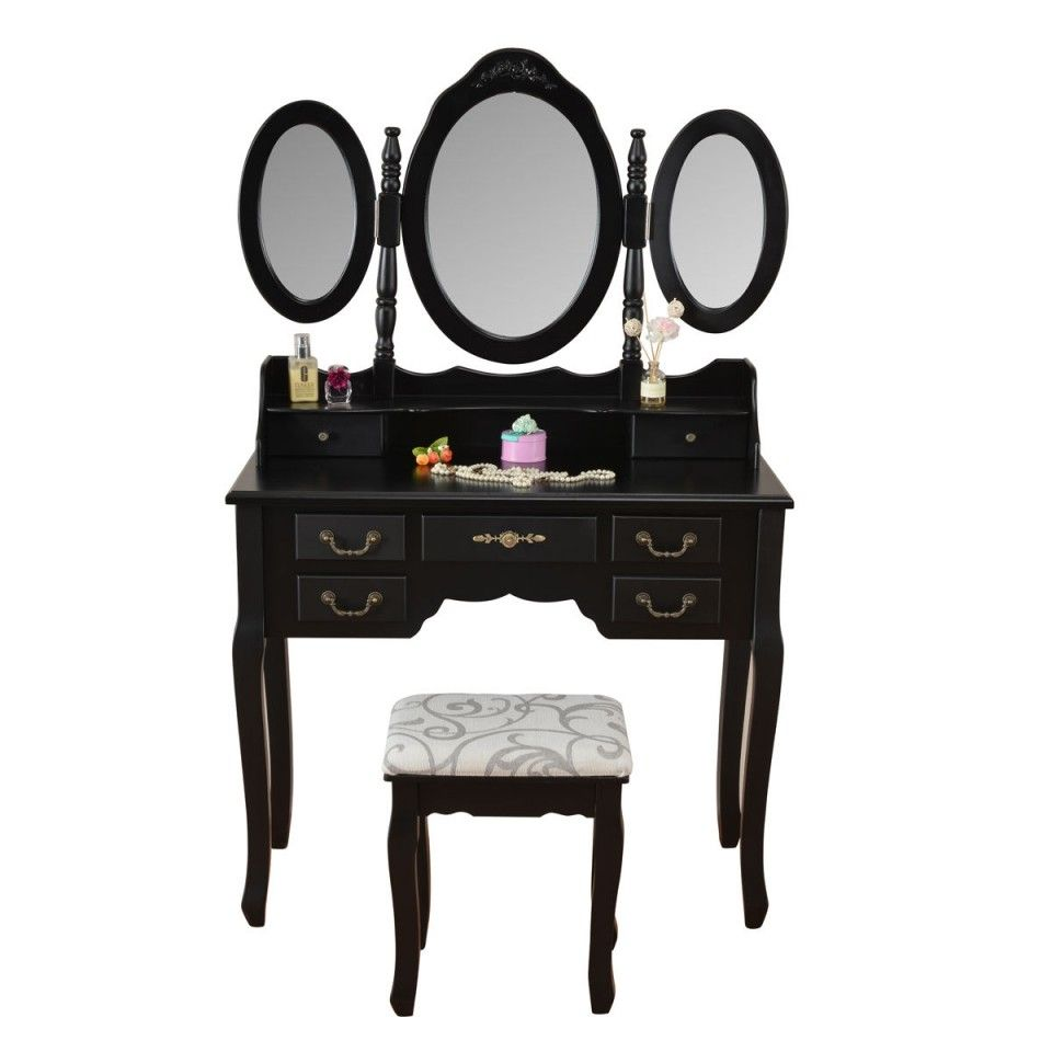SEN212 Masă de toaletă 90 x 40 cm - http://www.emobili.ro/cumpara/sen212-set-masa-neagra-toaleta-cosmetica-machiaj-oglinda-masuta-scaun-778 #eMobili