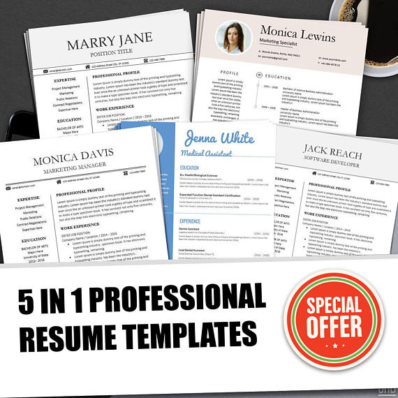 Resume Templates BUNDLE for Ms Word Professional Resume Design - word professional resume template