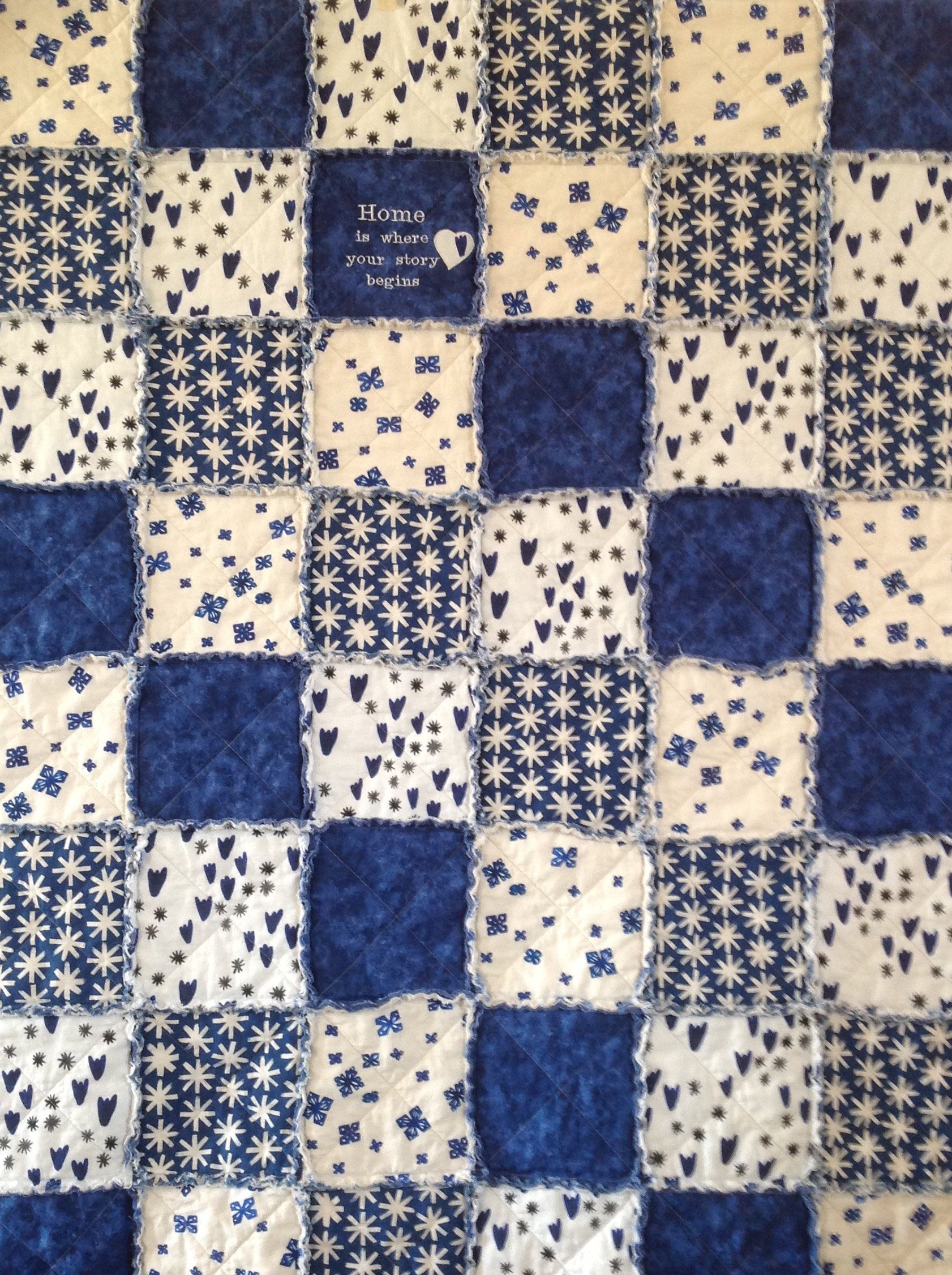 Homemade quilt rag quilt throw patchwork quilt embroidered blanket quilts handmade home is where rag quilt for sale blue white quilt by