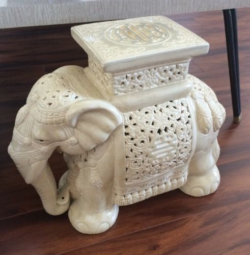 Vintage Asian Garden Stool Planter Elephant Seat Stand