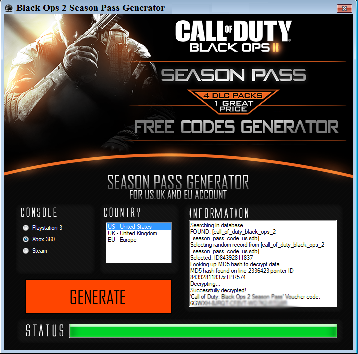 Black Ops 2 Season Pass Generator Download | Black xbox