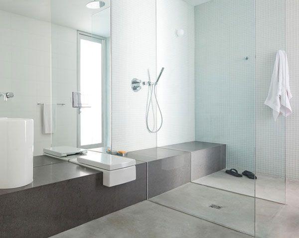 Cuarto de ba o con todos los espacios integrados y ducha sin plato arquitectura pinterest - Duchas sin plato ...